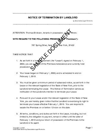 eviction notice example landlord use of land