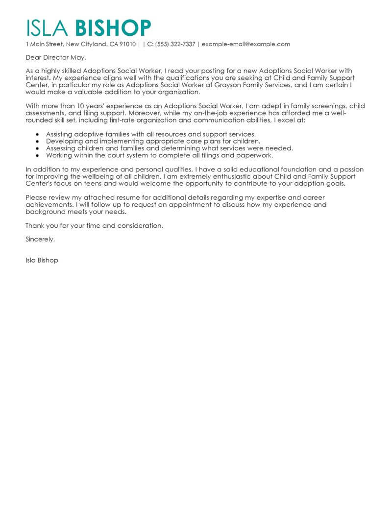 cover letter team work example