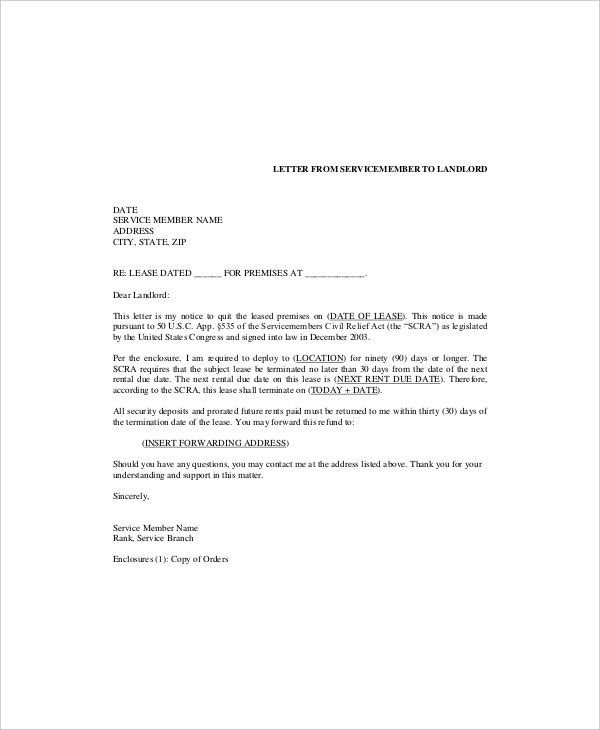 example letters tenants letter to lanlord on terminaton of lease