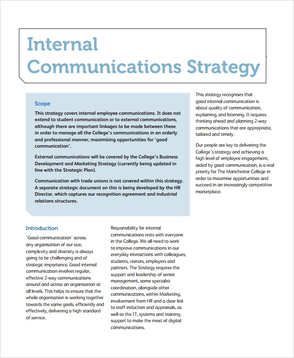 an example of internal communication would be