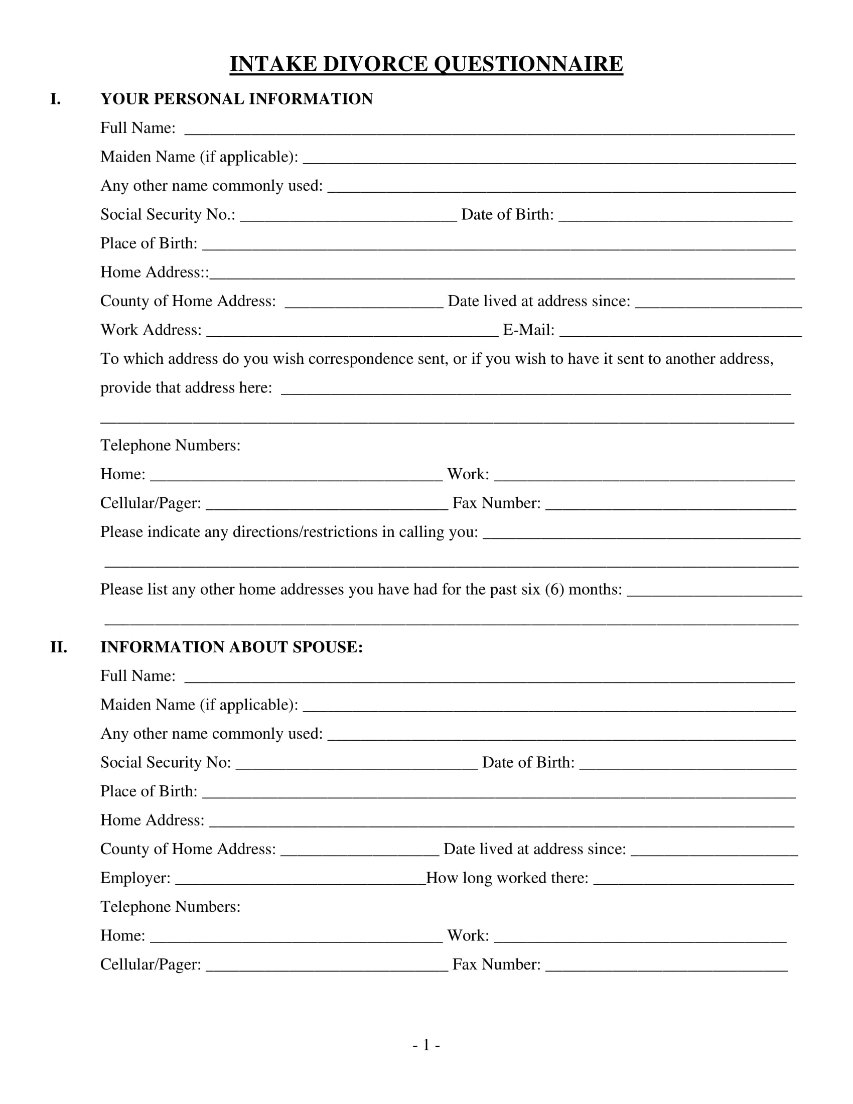 sample intake forms for social workers example