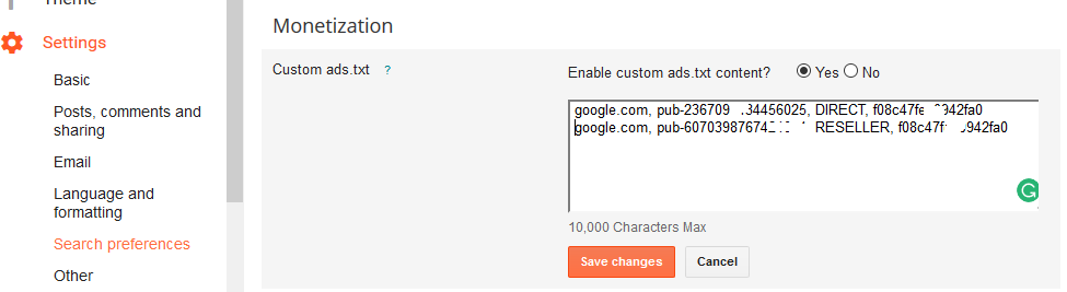 adsense custom search ads example