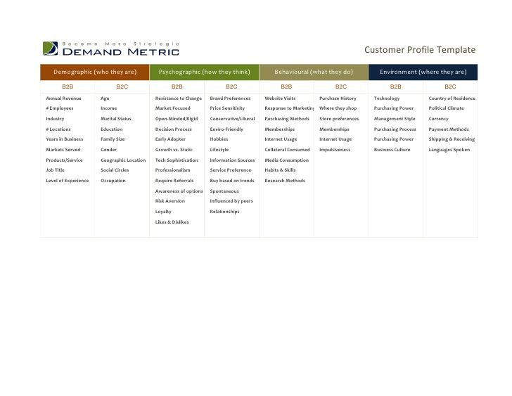what is a customer profile example