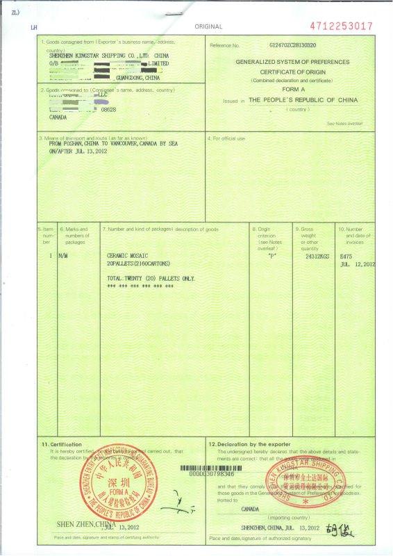 certificate of origin india example