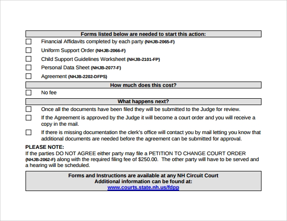 example of child support agreement