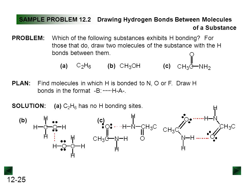 example of a substance that has a hydrogen bond