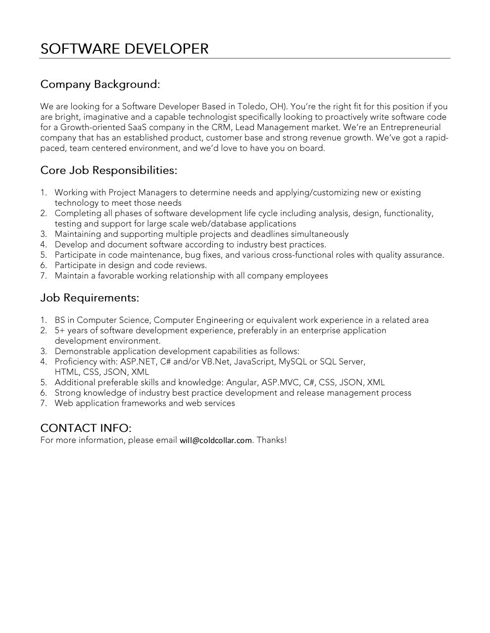 software developer job description example