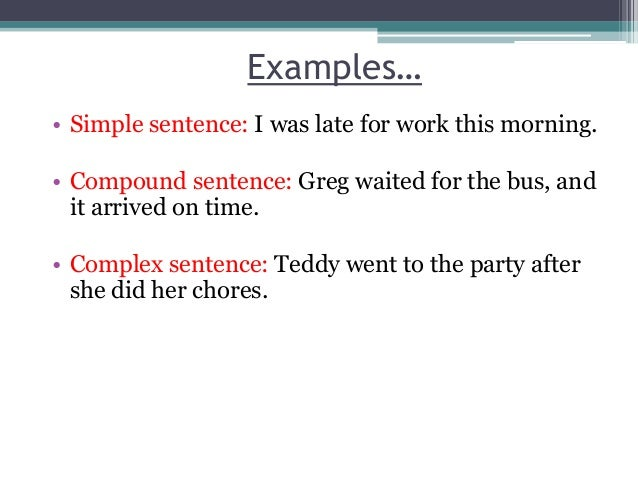 which is an example of a simple sentence