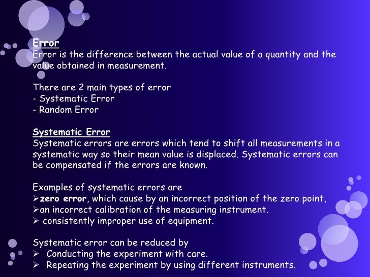 example of experimental error in physics