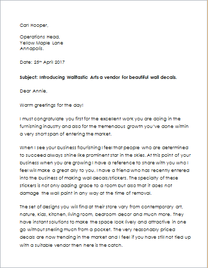 security agent introduction letter example
