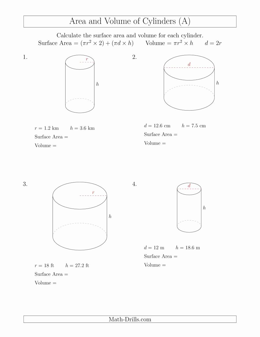 surface area of cylinder formula example