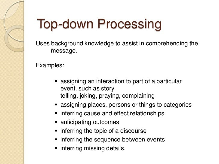 bottom up processing example in everyday life
