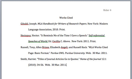 example of a work cited page for an essay