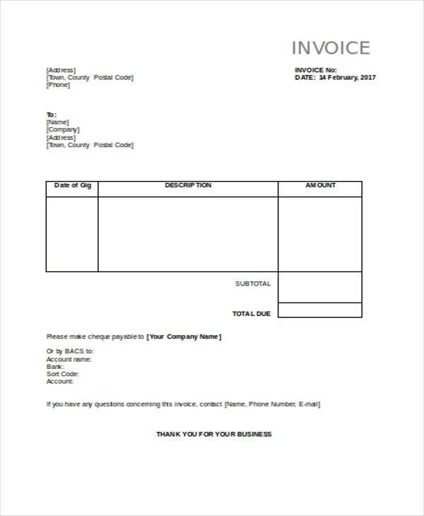 invoice of personal services example