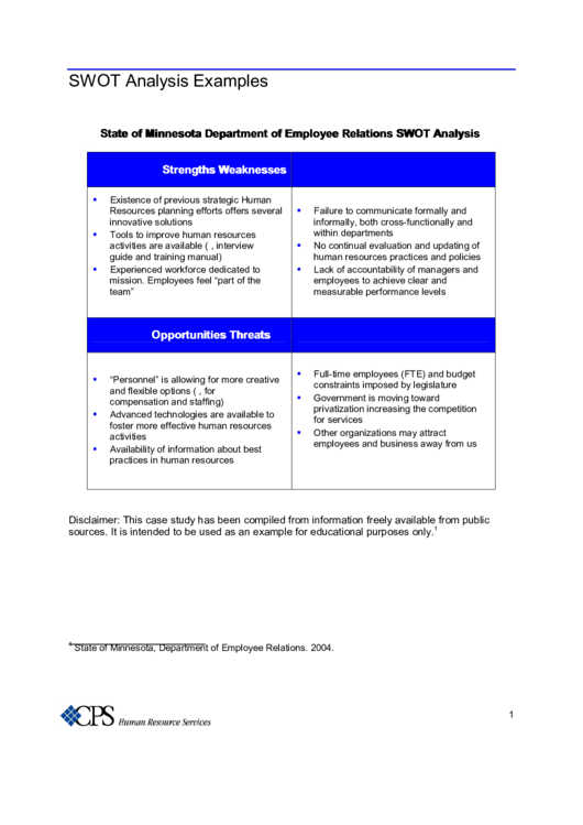 public relations swot analysis example