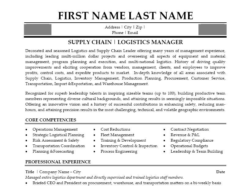 director of supply chain resume example