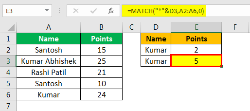 match in excel with example