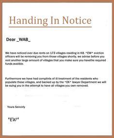 handing in notice letter example