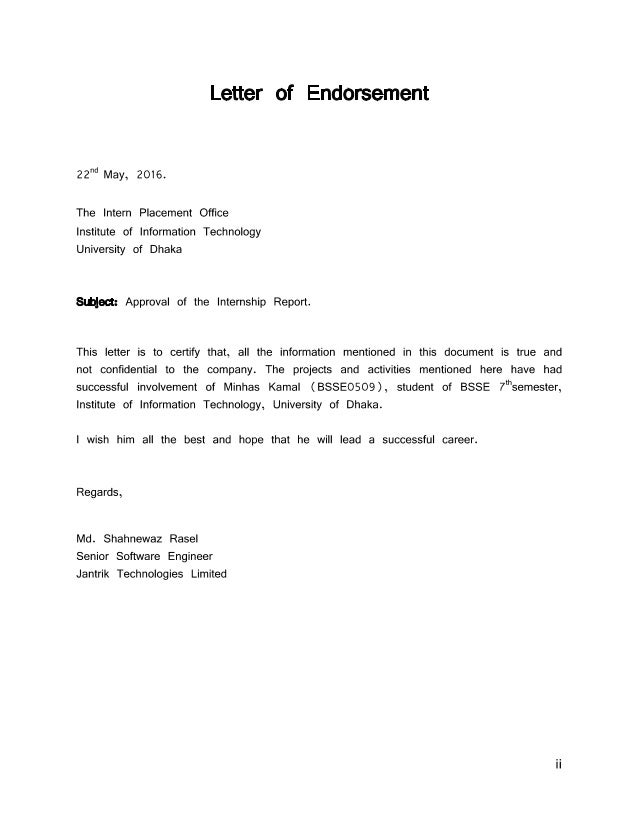 example of endorsement letter for product