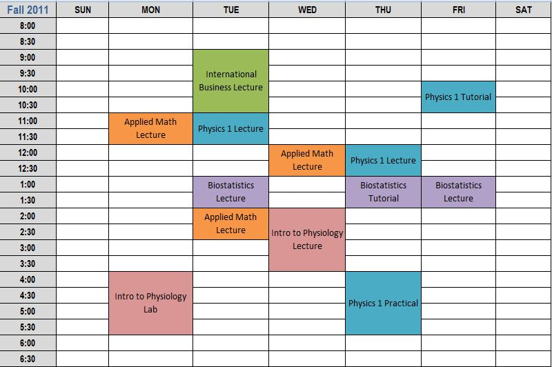 an example of a course schedule at algonquin college