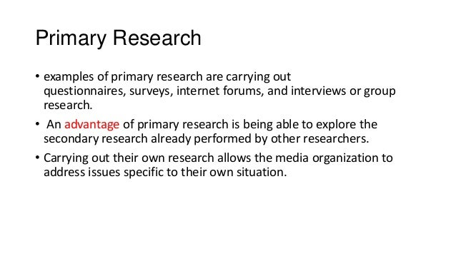 an example of primary research