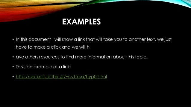 example of hypertext and hyperlink