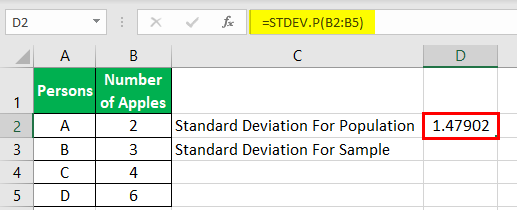 calculating standard deviation simple example