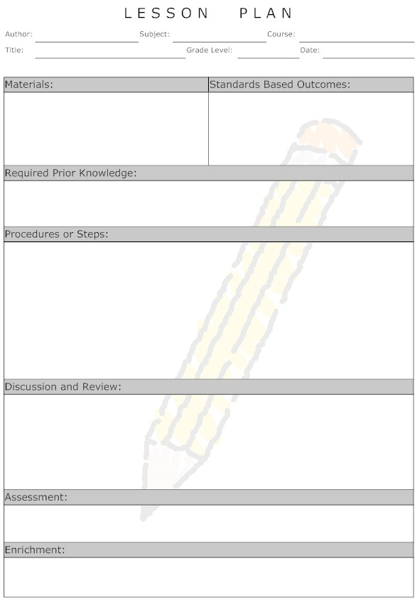 example of teacher lesson plan template