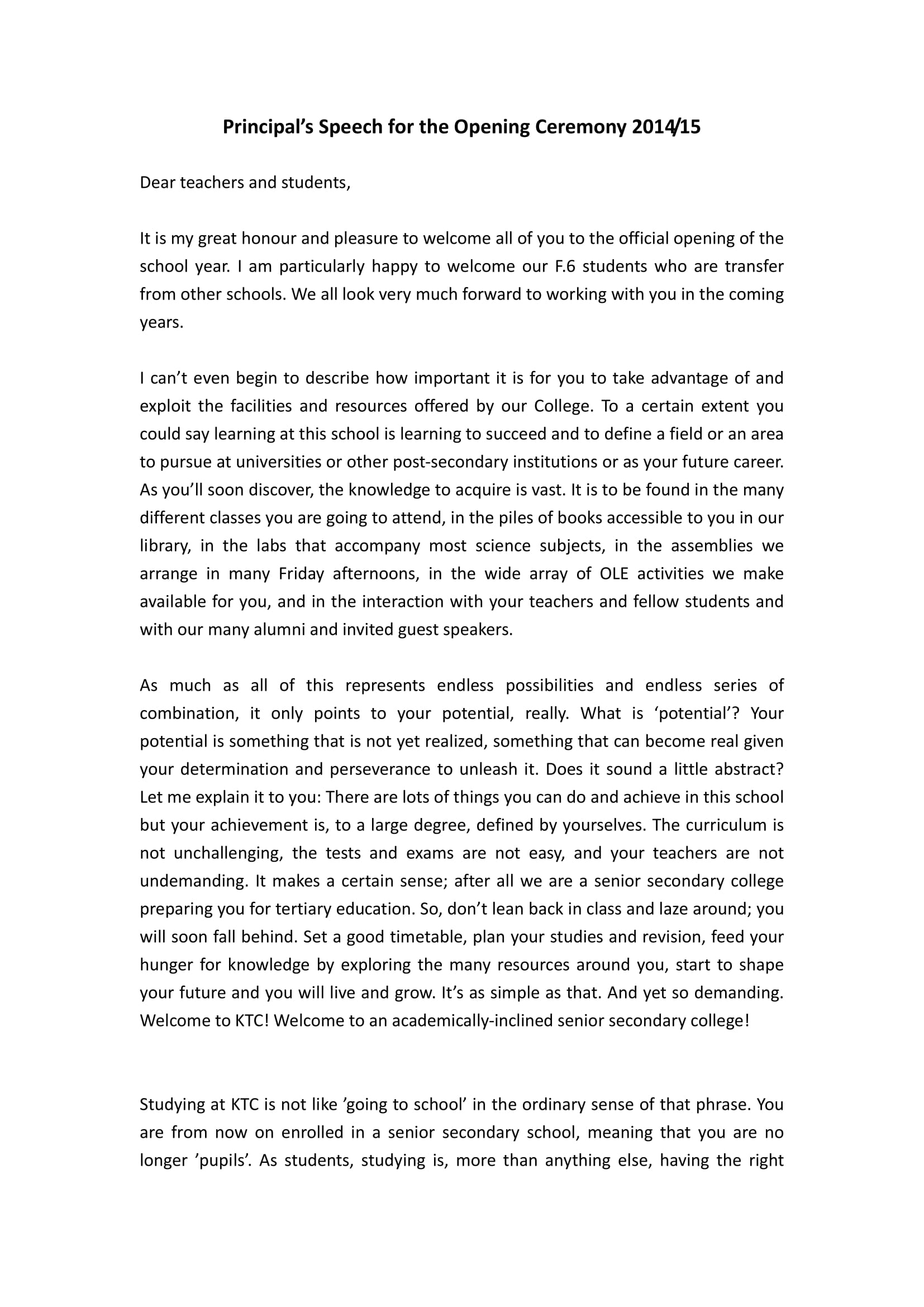example of an opening speech for mun