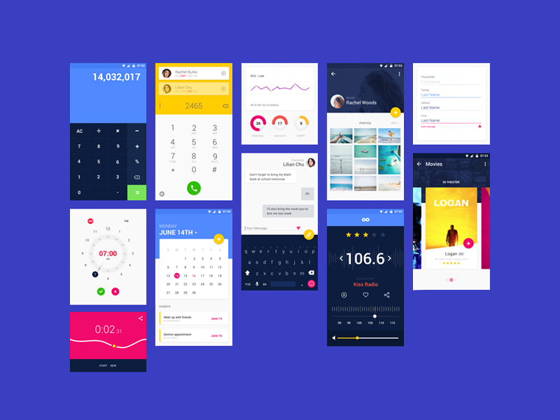 android material design example project