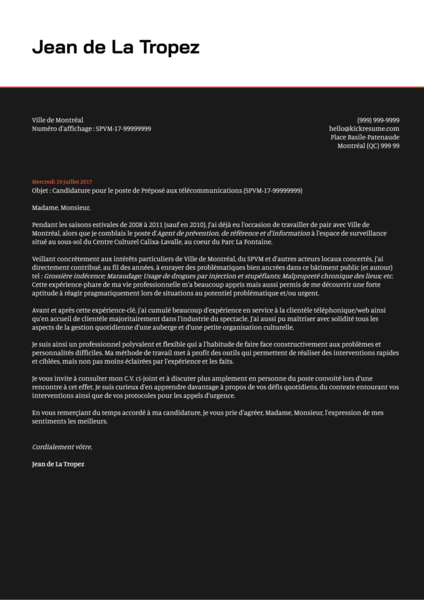 example of a cover letter in french