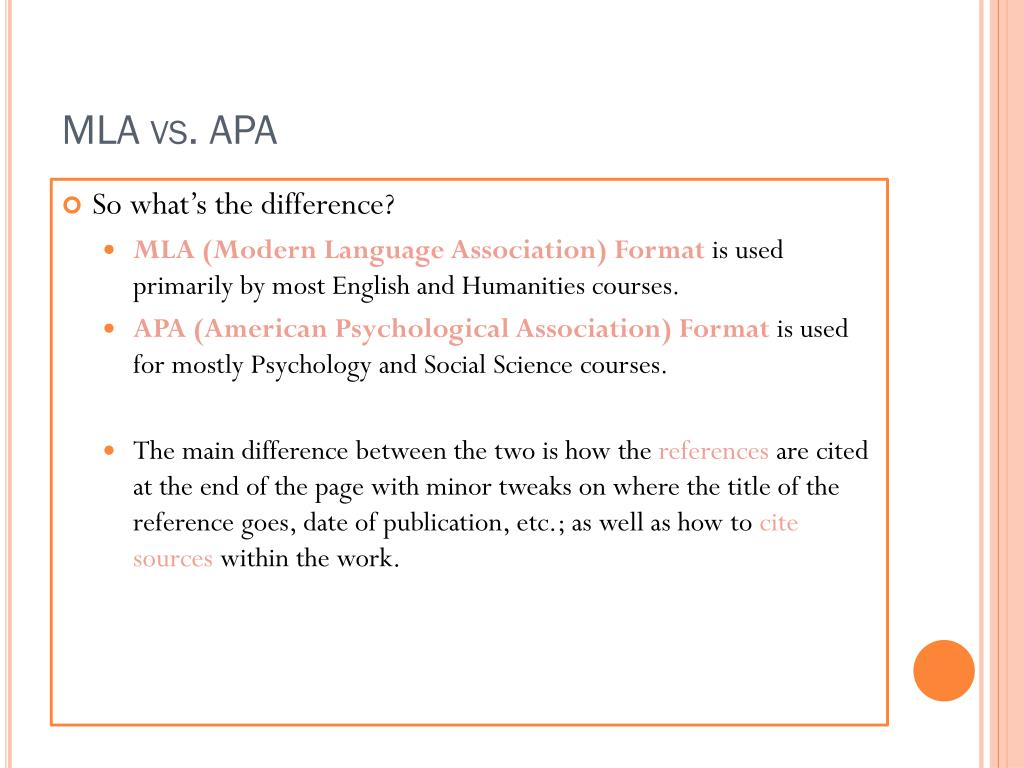 example of apa format versus mla