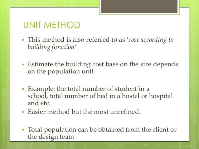 preliminary cost estimate building construction example