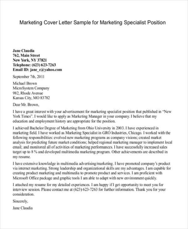 marketing and communications cover letter example