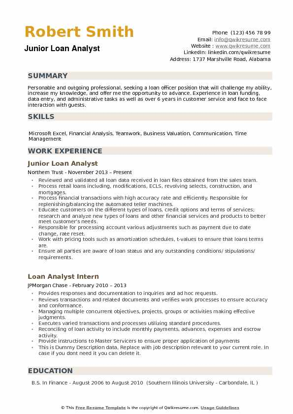 resume example of junior commercial mortgage analyst