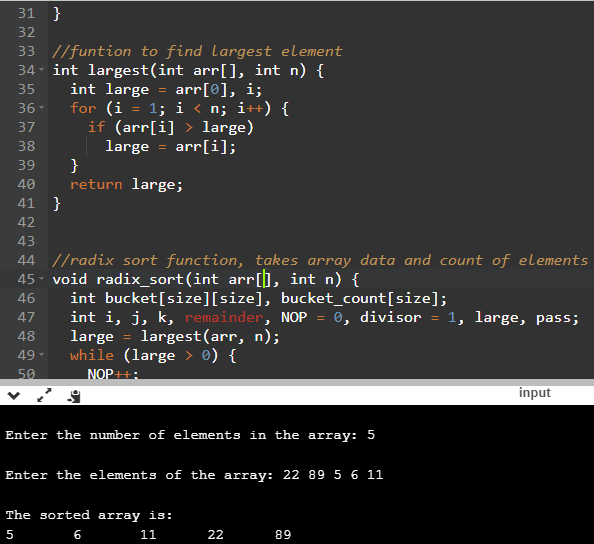 selection sort example in c