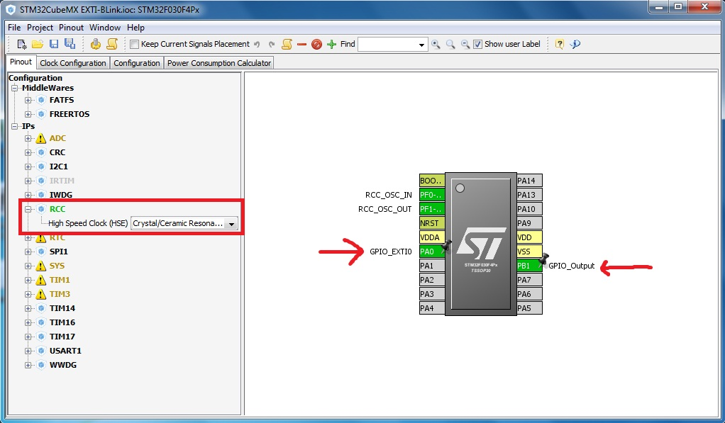 stm32 hal external interrupt example