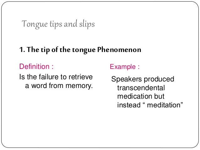 tip of the tongue phenomenon example
