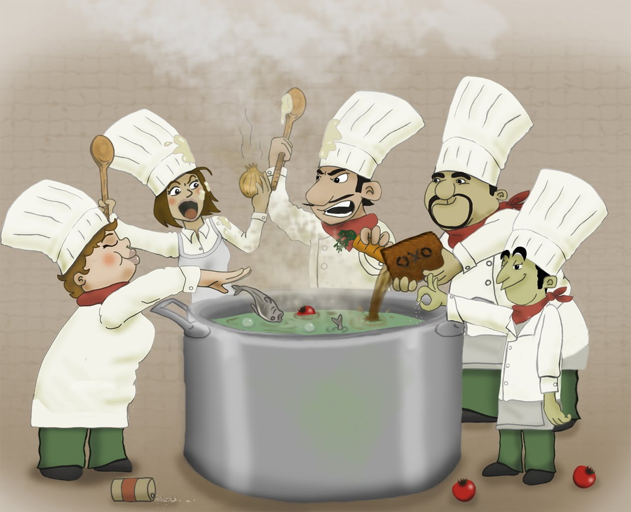 too many cooks spoil the broth example sentence
