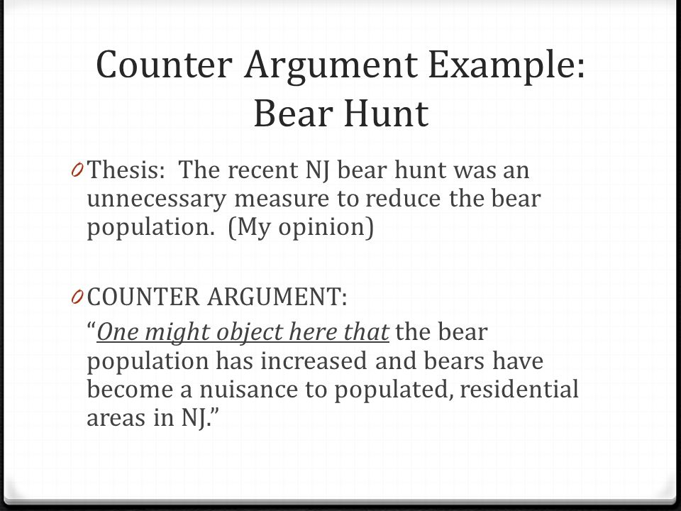 what is a counter argument example