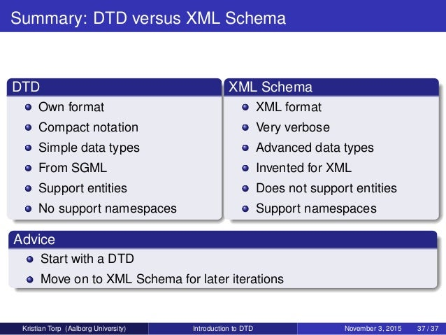 xml schema example with output